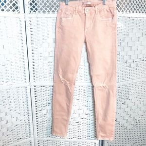 Trafaluc denim MAKERS ZARA salmon rip skinny  JEAN